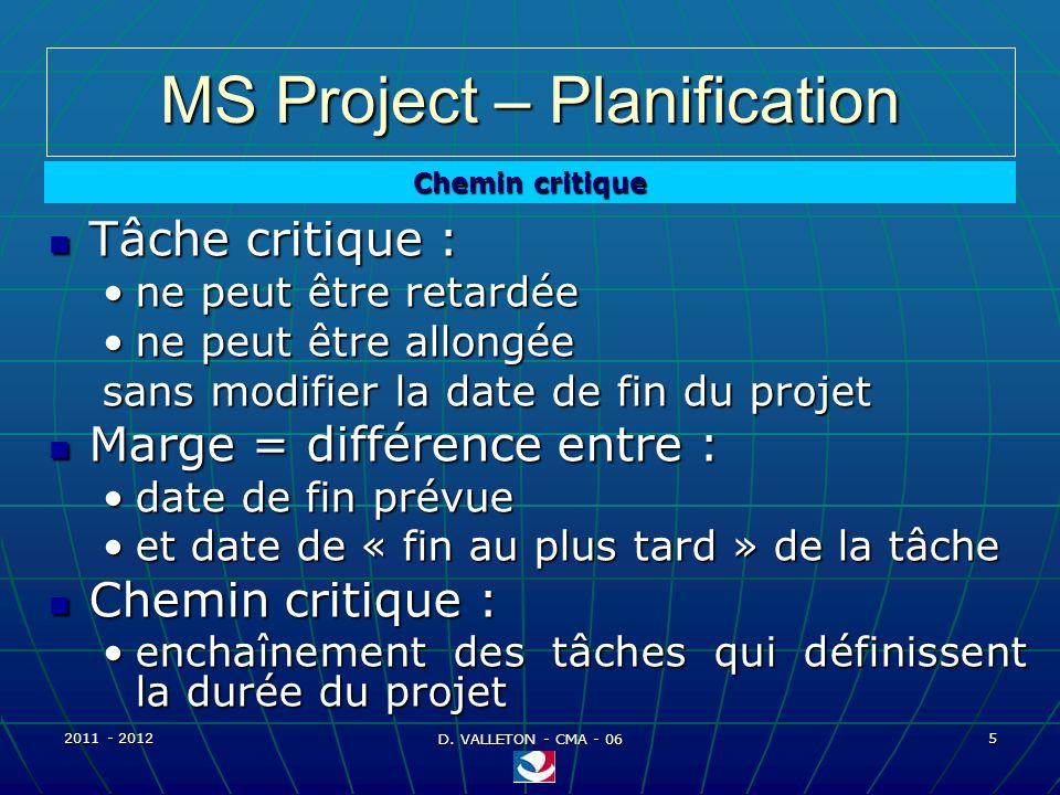 2011 - 2012 D. VALLETON - CMA - 06 6 MS Project – Planification Affichage du chemin critique ou