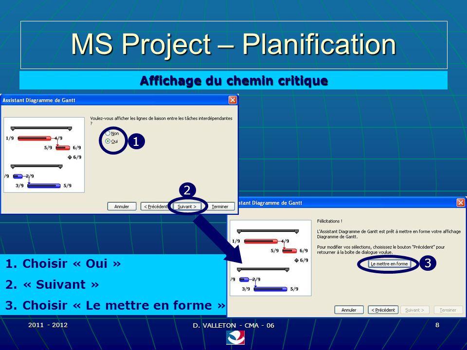 2011 - 2012 D. VALLETON - CMA - 06 9 MS Project – Planification Affichage du chemin critique