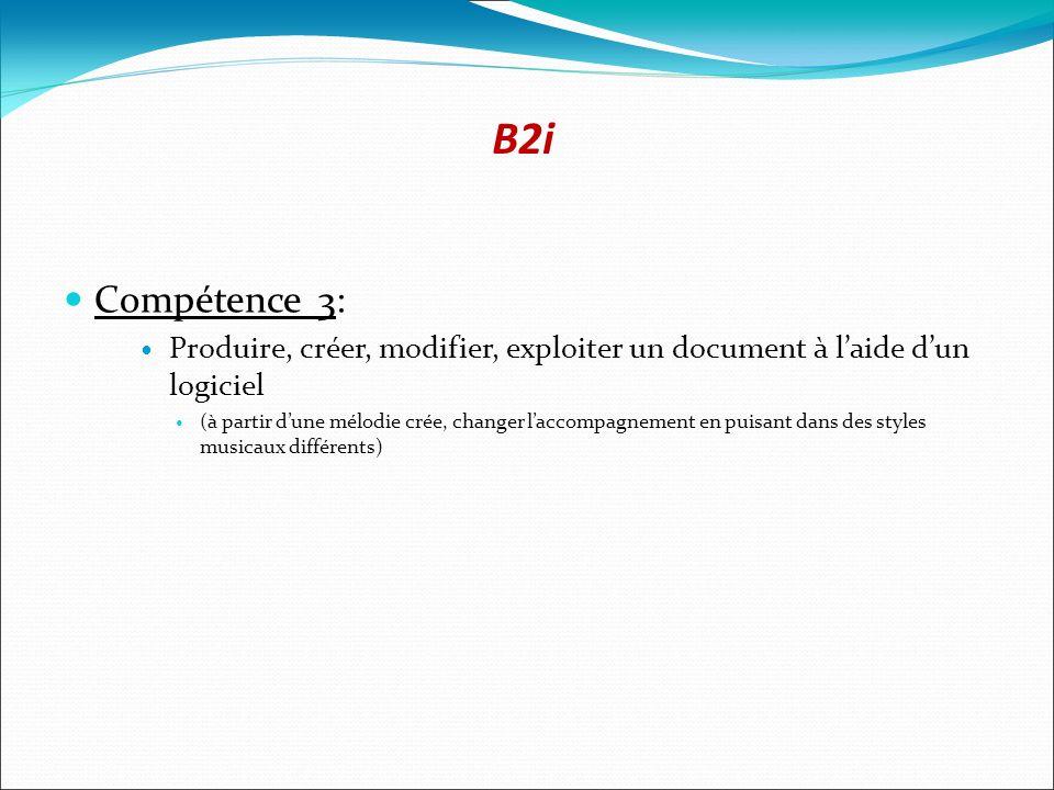B2i Compétence 3: Produire, créer, modifier, exploiter un document à laide dun logiciel (à partir dune mélodie crée, changer laccompagnement en puisant dans des styles musicaux différents)