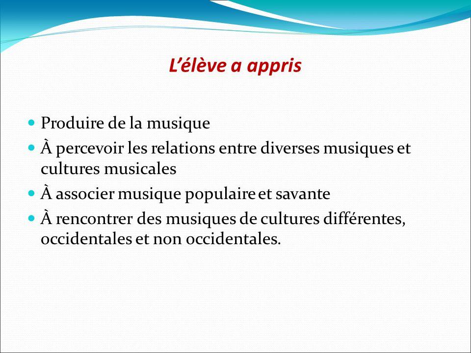 Lélève a appris Produire de la musique À percevoir les relations entre diverses musiques et cultures musicales À associer musique populaire et savante À rencontrer des musiques de cultures différentes, occidentales et non occidentales.
