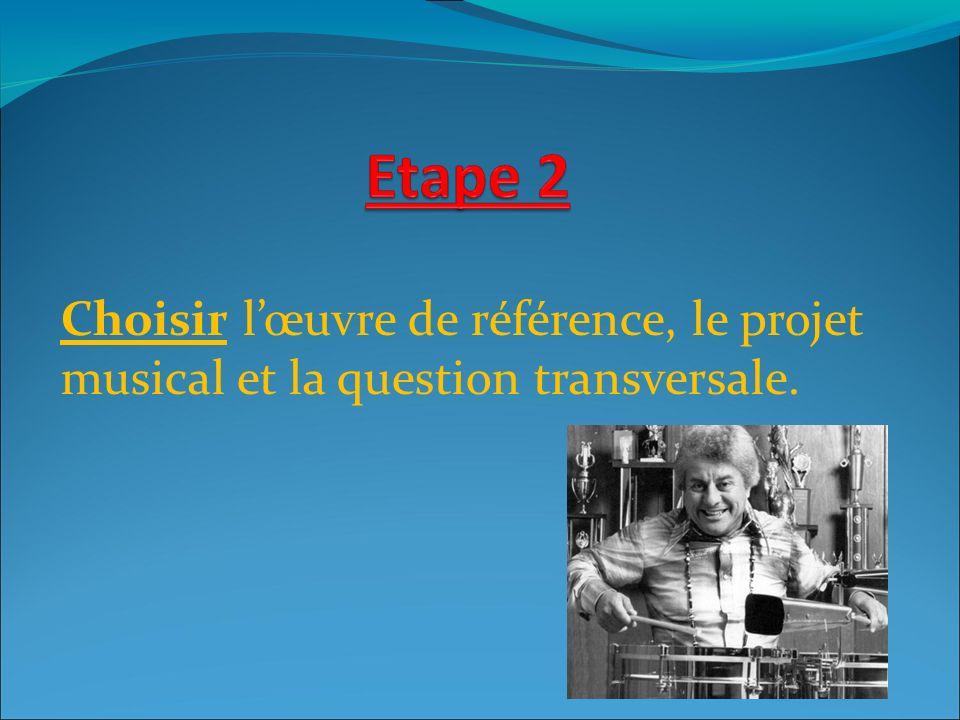 Choisir lœuvre de référence, le projet musical et la question transversale.