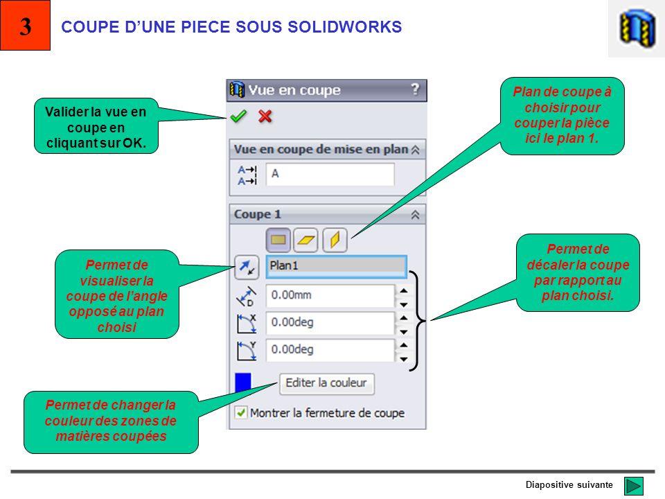 Solidworks permet de visualiser des pièces coupées selon un plan préalablement choisi parmi ceux proposés ou bien ceux crées. Méthode pour couper une