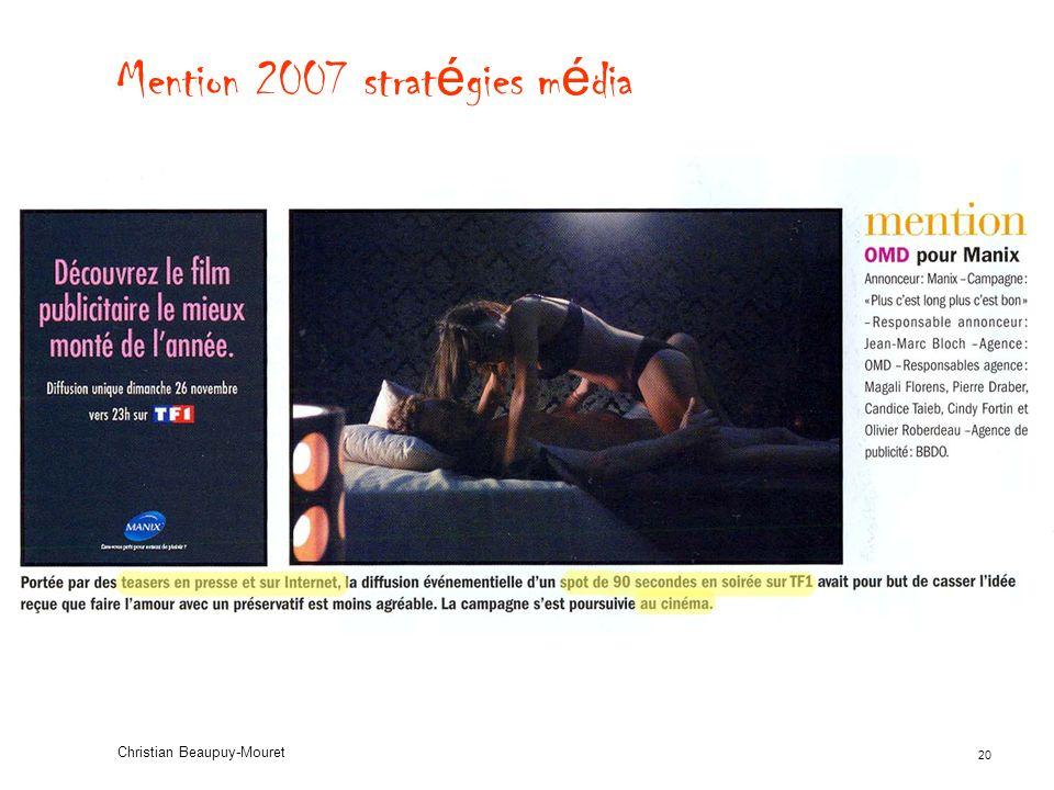 20 Christian Beaupuy-Mouret Mention 2007 strat é gies m é dia