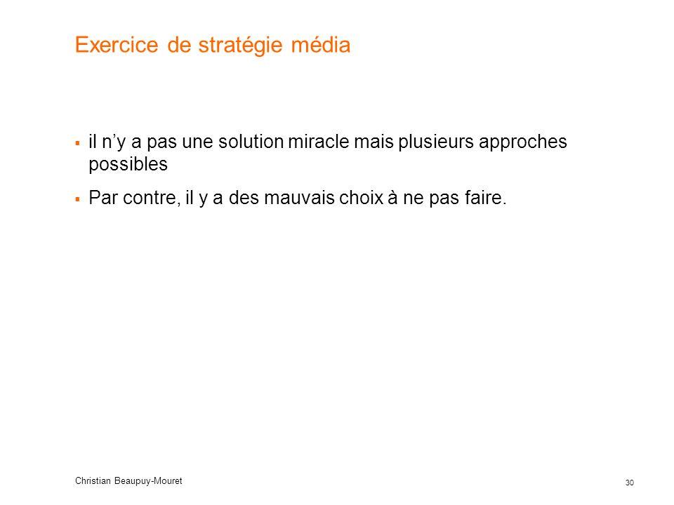 30 Christian Beaupuy-Mouret Exercice de stratégie média il ny a pas une solution miracle mais plusieurs approches possibles Par contre, il y a des mau