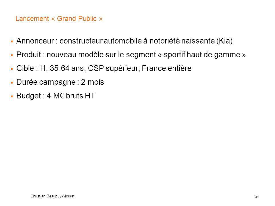 31 Christian Beaupuy-Mouret Lancement « Grand Public » Annonceur : constructeur automobile à notoriété naissante (Kia) Produit : nouveau modèle sur le
