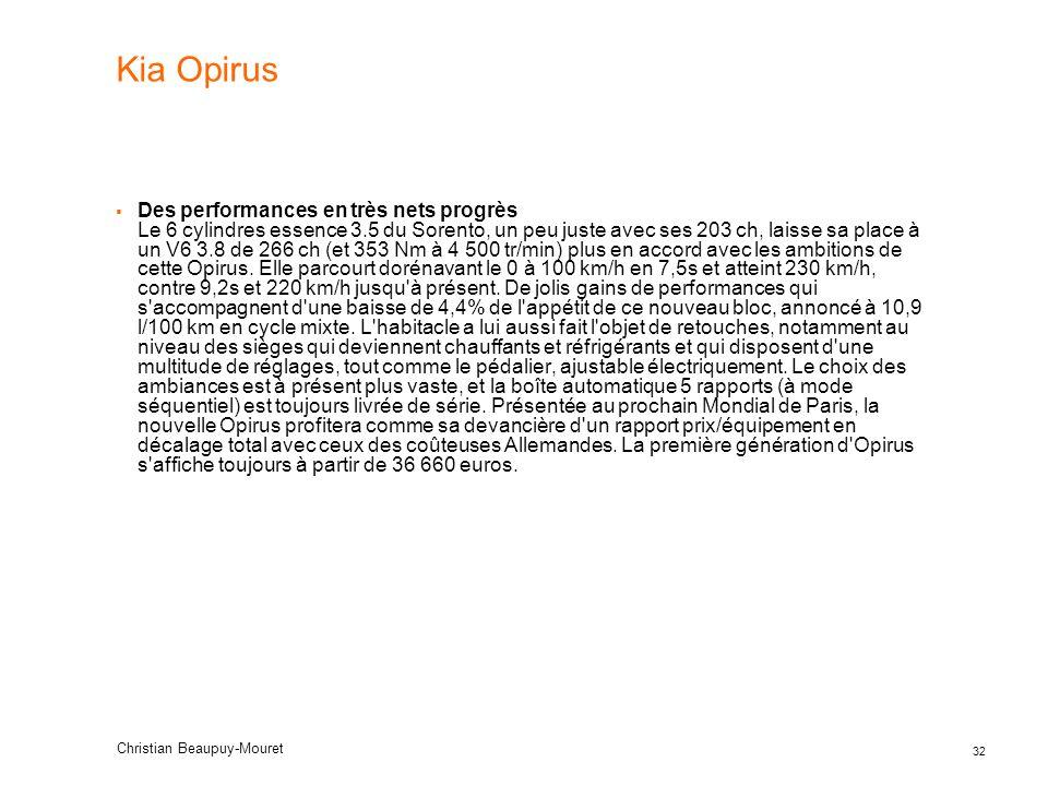 32 Christian Beaupuy-Mouret Kia Opirus Des performances en très nets progrès Le 6 cylindres essence 3.5 du Sorento, un peu juste avec ses 203 ch, lais