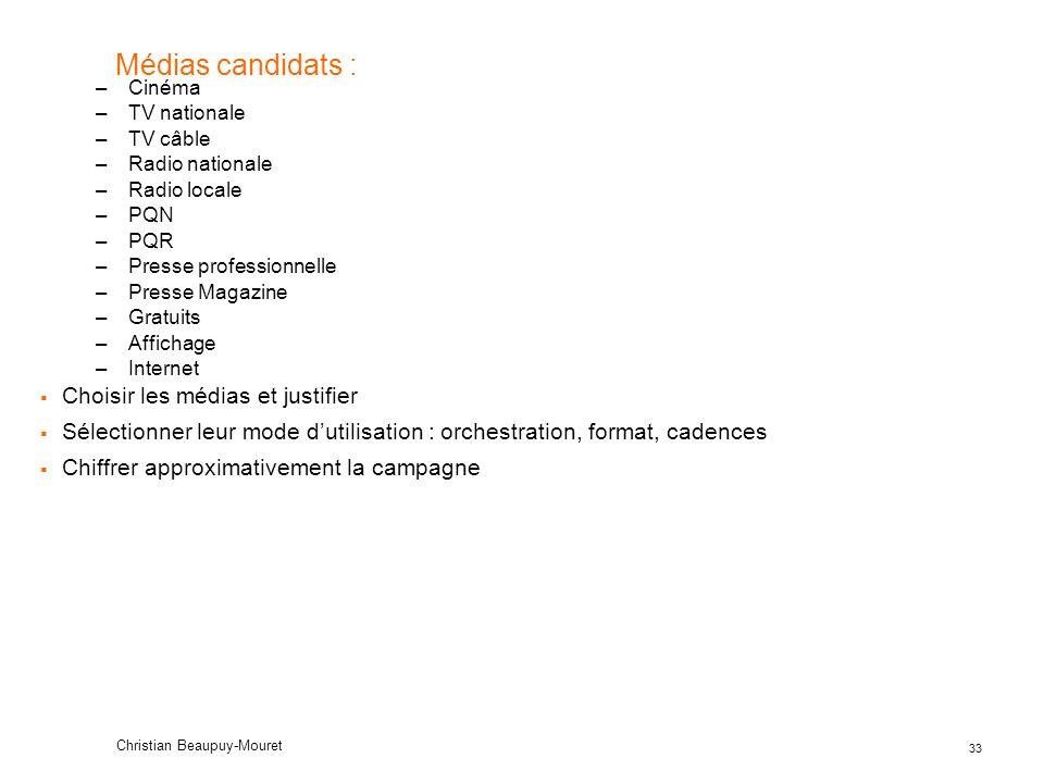 33 Christian Beaupuy-Mouret Médias candidats : –Cinéma –TV nationale –TV câble –Radio nationale –Radio locale –PQN –PQR –Presse professionnelle –Press