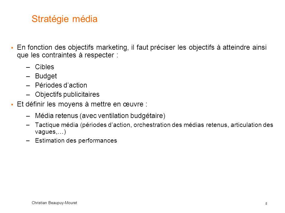 8 Stratégie média En fonction des objectifs marketing, il faut préciser les objectifs à atteindre ainsi que les contraintes à respecter : –Cibles –Bud