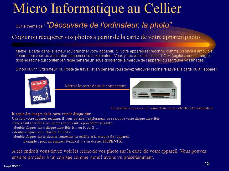13 Micro Informatique au Cellier Sur le thème de Découverte de lordinateur, la photo Joseph HOHN Copier ou récupérer vos photos à partir de la carte de votre appareil photo Mettre la carte dans le lecteur (ou brancher votre appareil).