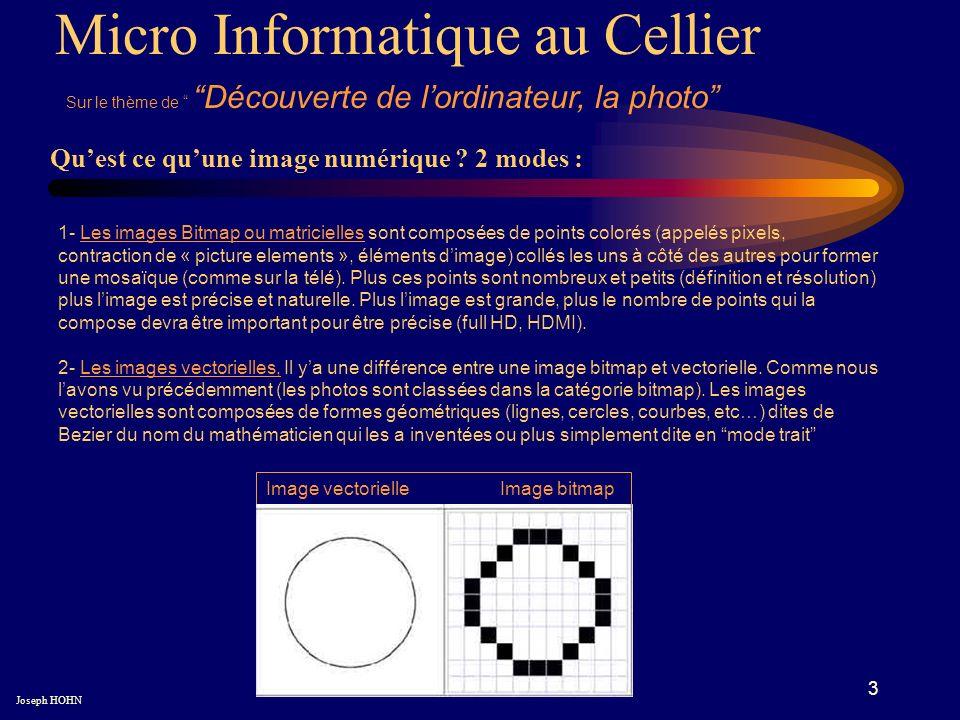 3 Micro Informatique au Cellier Sur le thème de Découverte de lordinateur, la photo Joseph HOHN Quest ce quune image numérique .