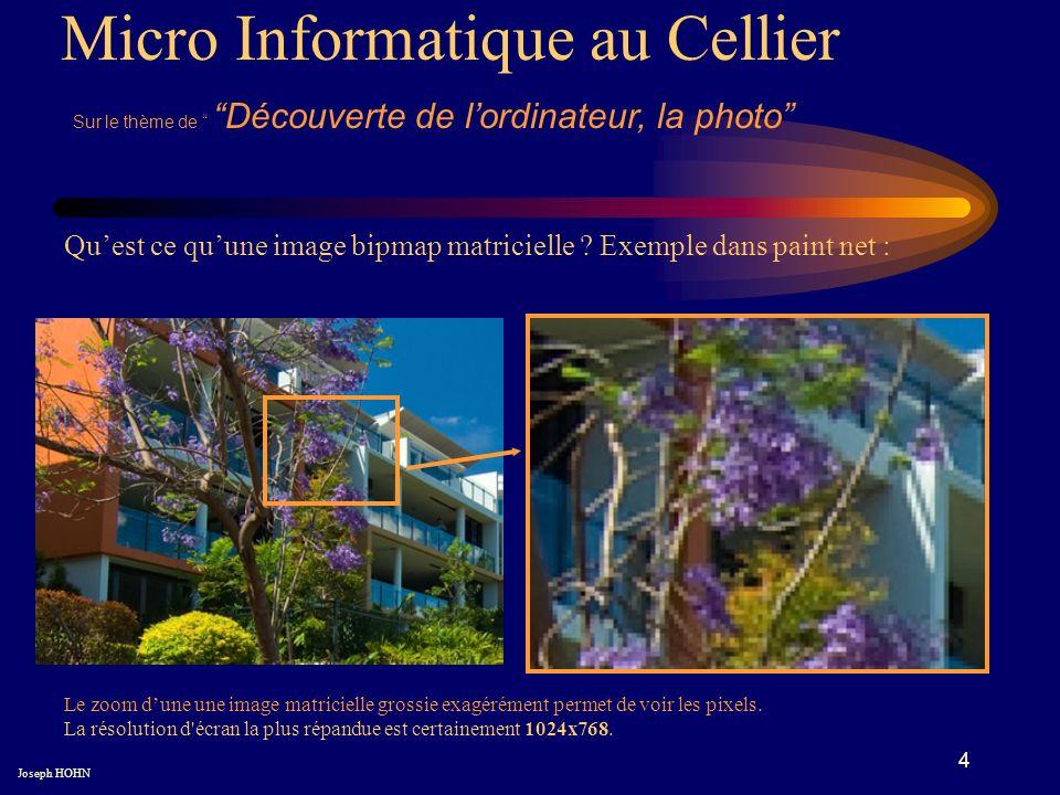 4 Micro Informatique au Cellier Sur le thème de Découverte de lordinateur, la photo Joseph HOHN Quest ce quune image bipmap matricielle .