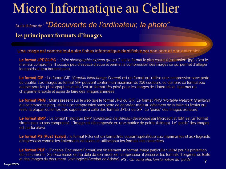 7 les principaux formats dimages Micro Informatique au Cellier Sur le thème de Découverte de lordinateur, la photo Joseph HOHN Une image est comme tout autre fichier informatique identifiable par son nom et son extension.