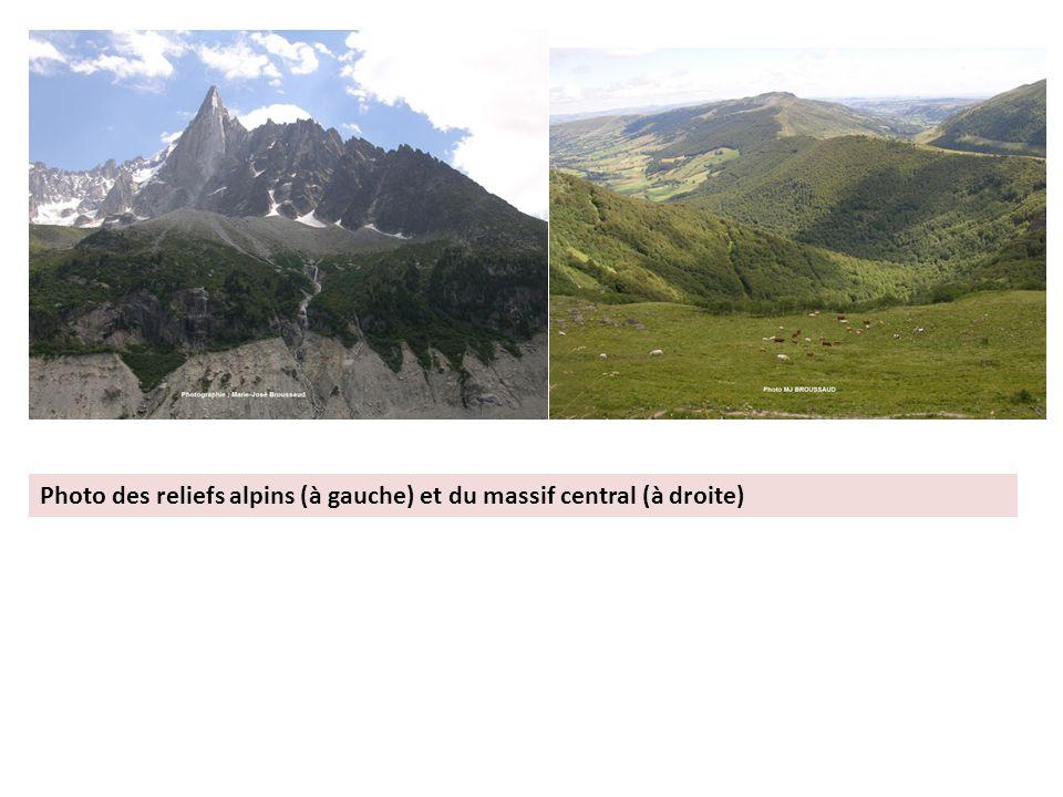 Photo des reliefs alpins (à gauche) et du massif central (à droite)
