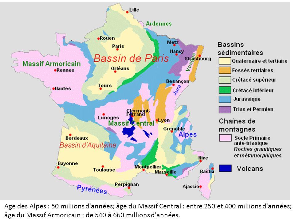 Age des Alpes : 50 millions d'années; âge du Massif Central : entre 250 et 400 millions d'années; âge du Massif Armoricain : de 540 à 660 millions d'a