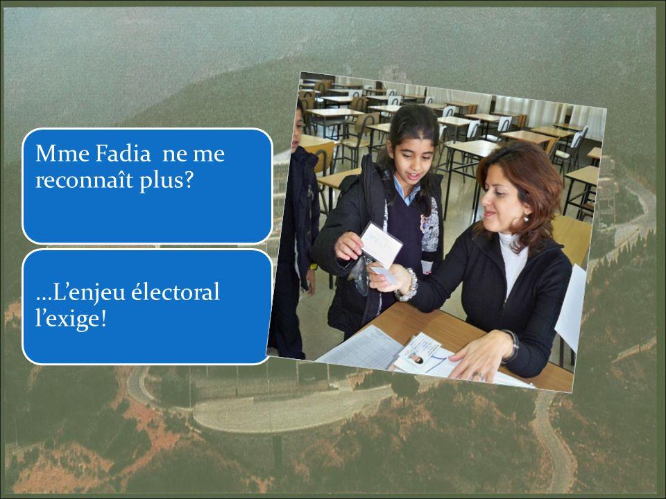Mme Fadia ne me reconnaît plus …Lenjeu électoral lexige!
