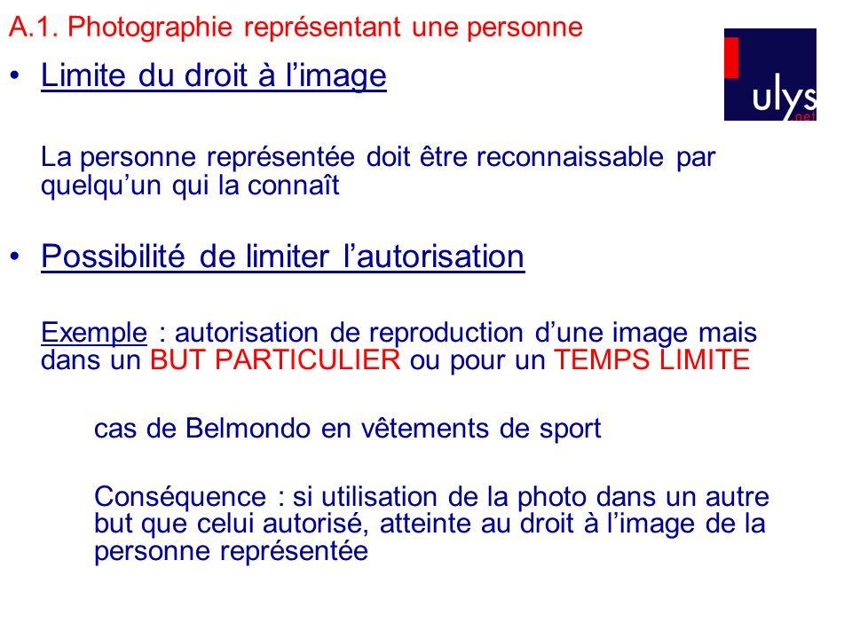 A.1. Photographie représentant une personne Limite du droit à limage La personne représentée doit être reconnaissable par quelquun qui la connaît Poss