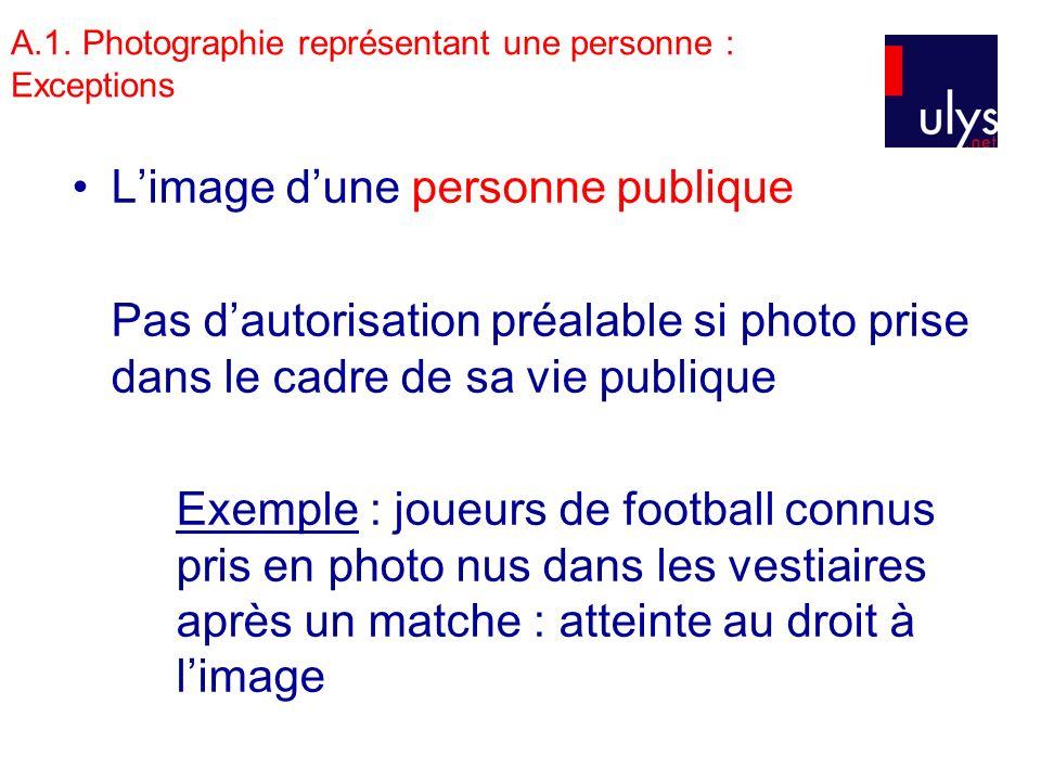 A.1. Photographie représentant une personne : Exceptions Limage dune personne publique Pas dautorisation préalable si photo prise dans le cadre de sa