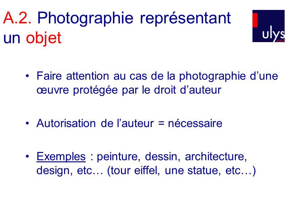 A.2. Photographie représentant un objet Faire attention au cas de la photographie dune œuvre protégée par le droit dauteur Autorisation de lauteur = n