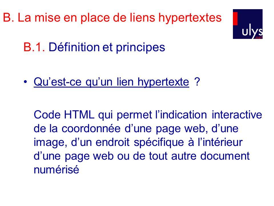 B. La mise en place de liens hypertextes B.1. Définition et principes Quest-ce quun lien hypertexte ? Code HTML qui permet lindication interactive de