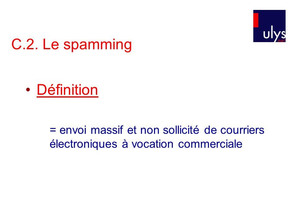 C.2. Le spamming Définition = envoi massif et non sollicité de courriers électroniques à vocation commerciale