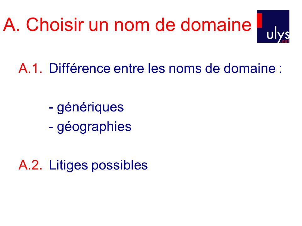 A. Choisir un nom de domaine A.1.