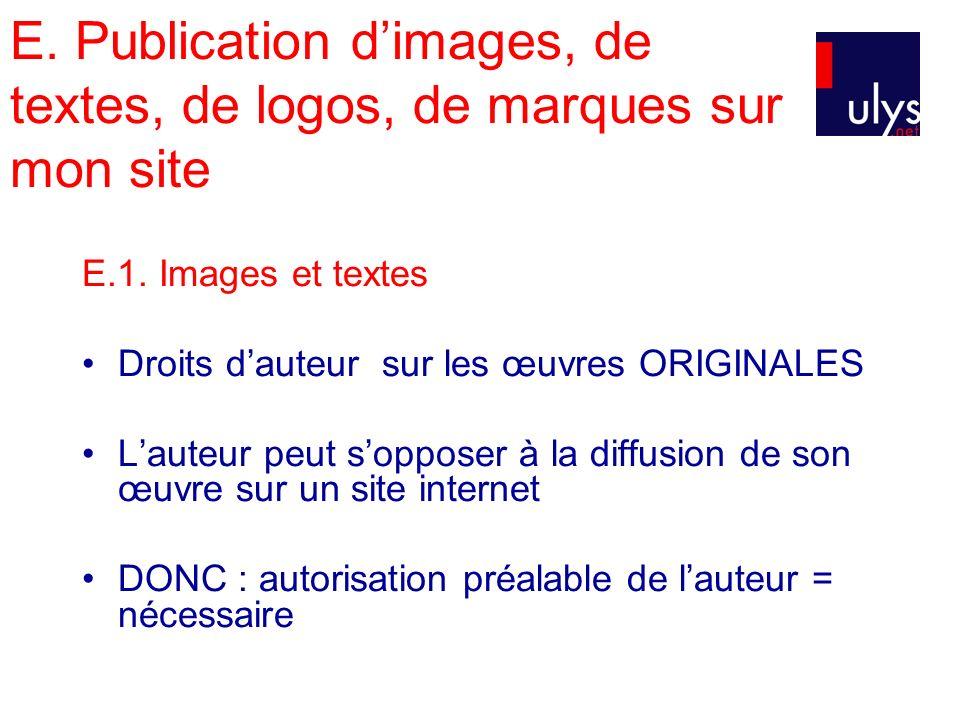 E. Publication dimages, de textes, de logos, de marques sur mon site E.1. Images et textes Droits dauteur sur les œuvres ORIGINALES Lauteur peut soppo
