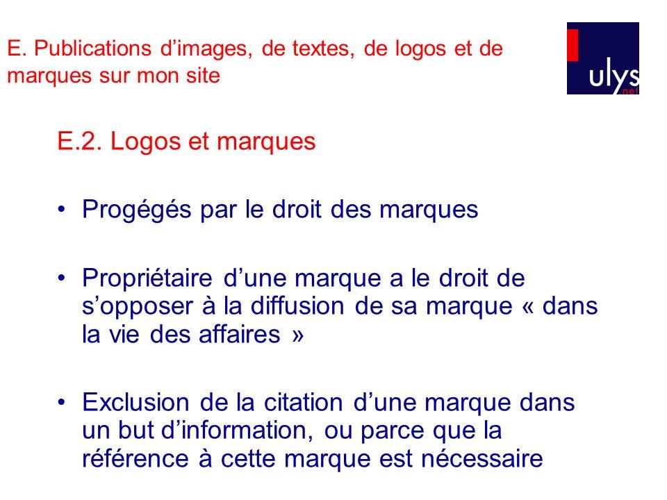 E. Publications dimages, de textes, de logos et de marques sur mon site E.2. Logos et marques Progégés par le droit des marques Propriétaire dune marq