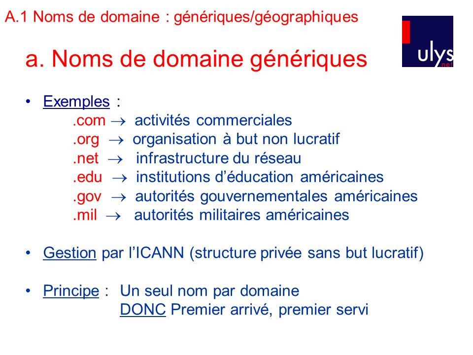 A.1 Noms de domaine : génériques/géographiques a. Noms de domaine génériques Exemples :. com activités commerciales.org organisation à but non lucrati