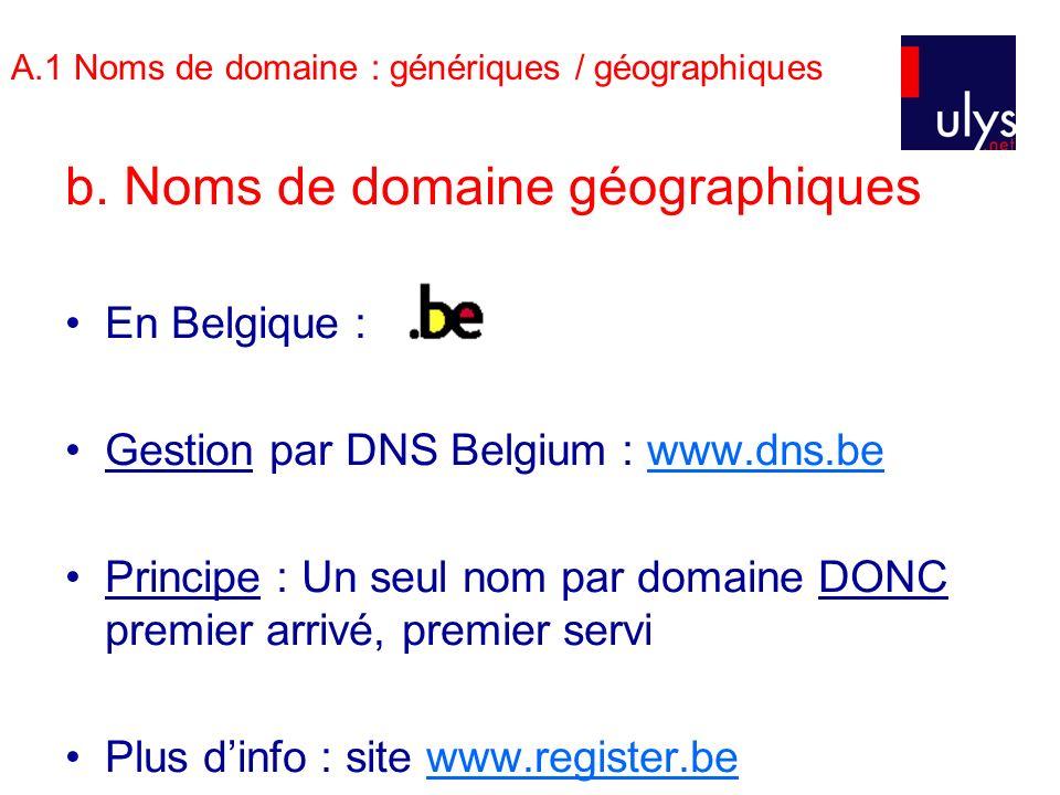 A.1 Noms de domaine : génériques / géographiques b. Noms de domaine géographiques En Belgique : Gestion par DNS Belgium : www.dns.bewww.dns.be Princip