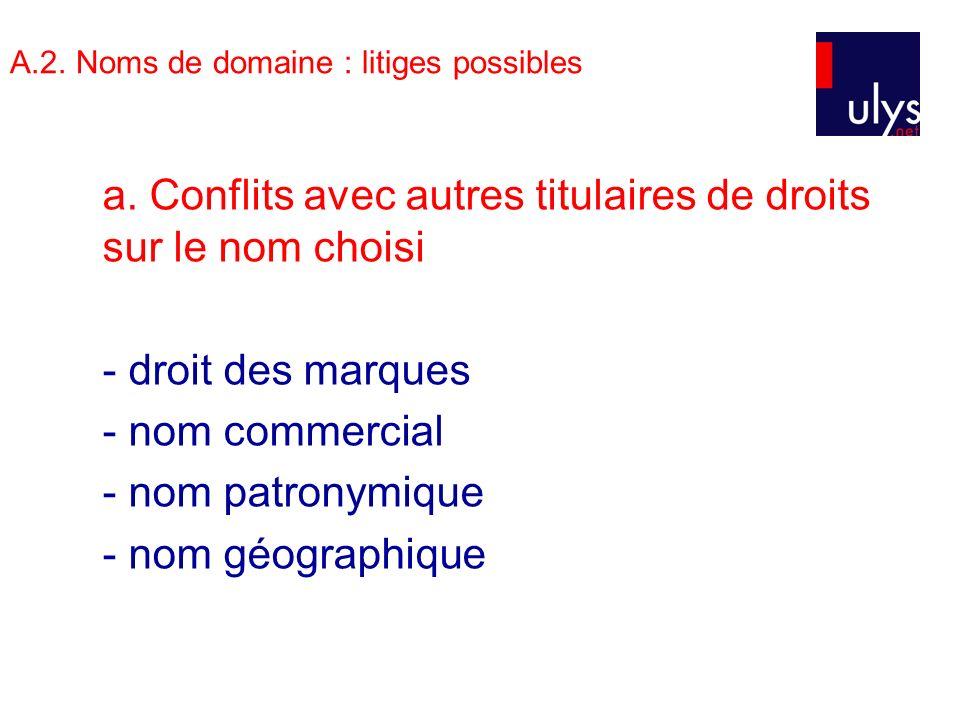 A.2. Noms de domaine : litiges possibles a.