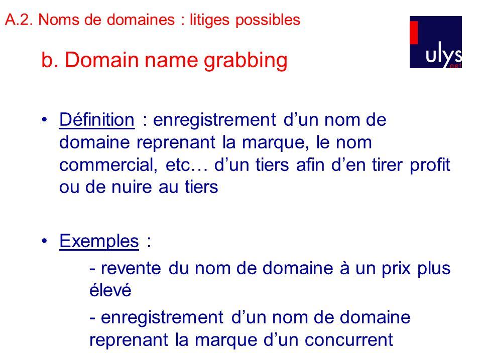 A.2. Noms de domaines : litiges possibles b. Domain name grabbing Définition : enregistrement dun nom de domaine reprenant la marque, le nom commercia