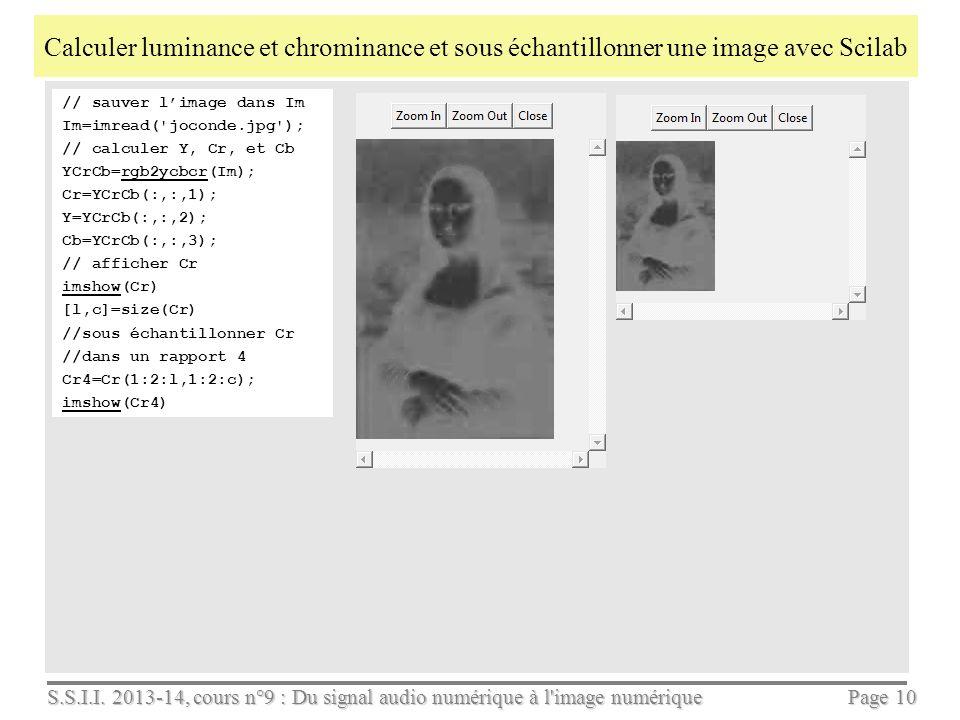 S.S.I.I. 2013-14, cours n°9 : Du signal audio numérique à l'image numérique Page 9 Extraire luminance et chrominances avec Imlab On voit que Y la lumi