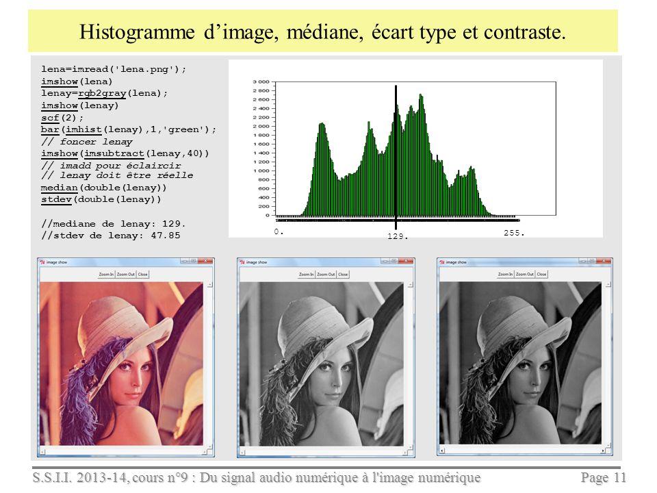 S.S.I.I. 2013-14, cours n°9 : Du signal audio numérique à l'image numérique Page 10 Calculer luminance et chrominance et sous échantillonner une image