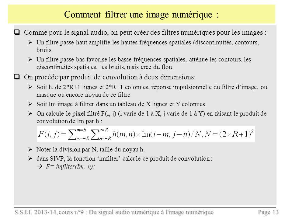 S.S.I.I. 2013-14, cours n°9 : Du signal audio numérique à l'image numérique Page 12 Pour varier le contraste, on multiplie lécart type à médiane const