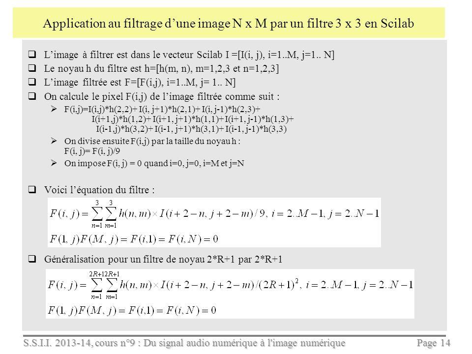 S.S.I.I. 2013-14, cours n°9 : Du signal audio numérique à l'image numérique Page 13 Comment filtrer une image numérique : Comme pour le signal audio,