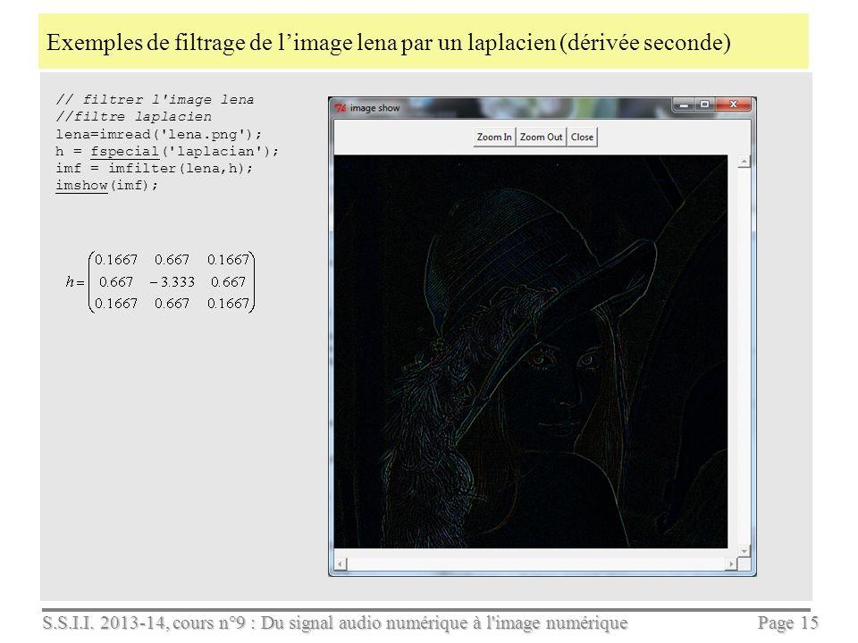 S.S.I.I. 2013-14, cours n°9 : Du signal audio numérique à l'image numérique Page 14 Application au filtrage dune image N x M par un filtre 3 x 3 en Sc