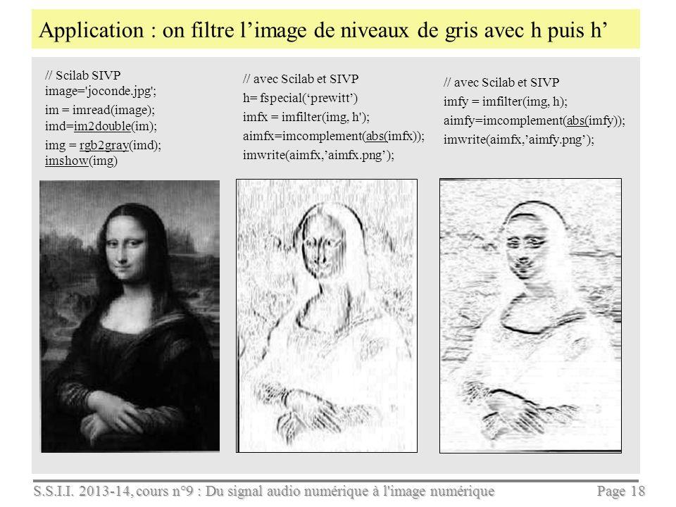 S.S.I.I. 2013-14, cours n°9 : Du signal audio numérique à l'image numérique Page 17 Déterminer un filtre qui calculera les dérivées partielles Ix et I