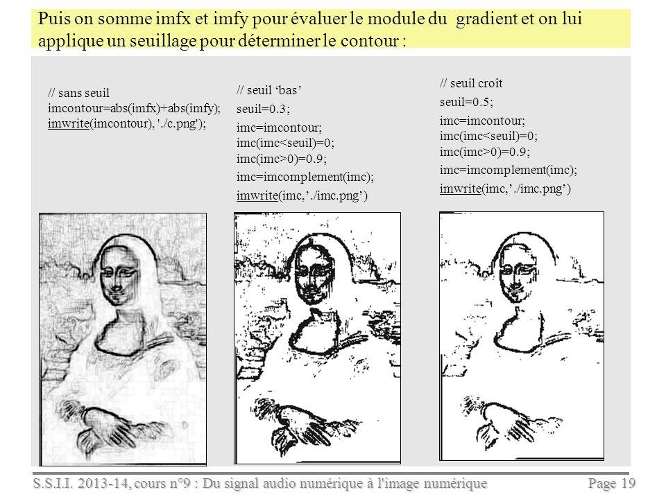 S.S.I.I. 2013-14, cours n°9 : Du signal audio numérique à l'image numérique Page 18 Application : on filtre limage de niveaux de gris avec h puis h //