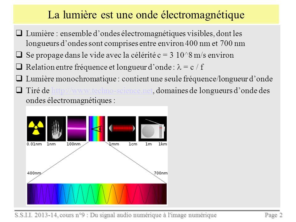 S.S.I.I. 2013-14, cours n°9 : Du signal audio numérique à l'image numérique Page 1 Du signal audio numérique à l'image numérique Cours S.S.I.I., séanc
