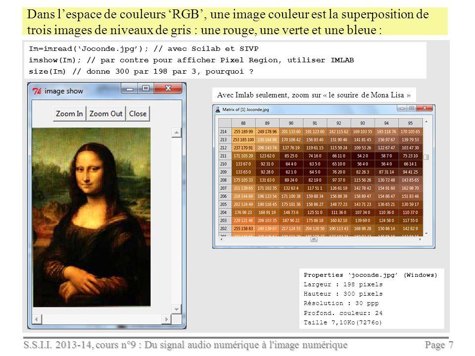 S.S.I.I. 2013-14, cours n°9 : Du signal audio numérique à l'image numérique Page 6 Caractère numérique dune image de niveaux de gris L'image suivante