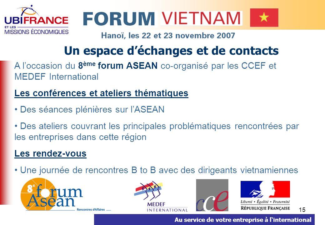 Au service de votre entreprise à linternational 15 Un espace déchanges et de contacts A loccasion du 8 ème forum ASEAN co-organisé par les CCEF et MED
