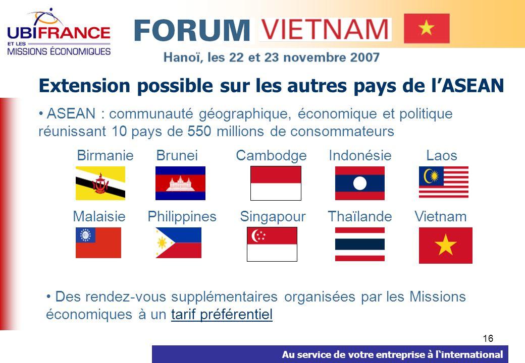Au service de votre entreprise à linternational 16 Extension possible sur les autres pays de lASEAN ASEAN : communauté géographique, économique et pol