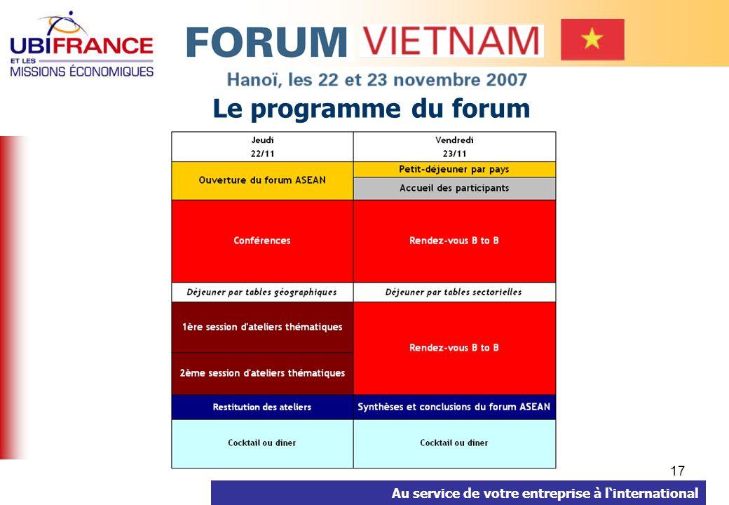 Au service de votre entreprise à linternational 17 Le programme du forum