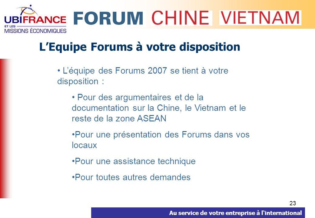 Au service de votre entreprise à linternational 23 LEquipe Forums à votre disposition Léquipe des Forums 2007 se tient à votre disposition : Pour des