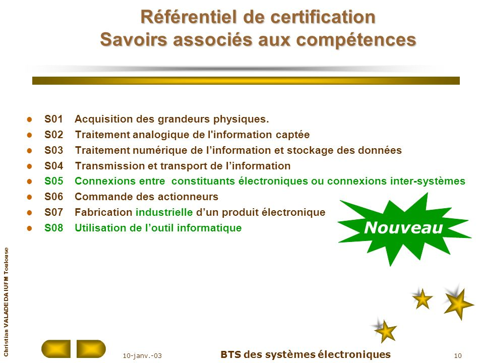 Christian VALADE DA IUFM Toulouse 10-janv.-03 BTS des systèmes électroniques 10 Référentiel de certification Savoirs associés aux compétences S01Acqui