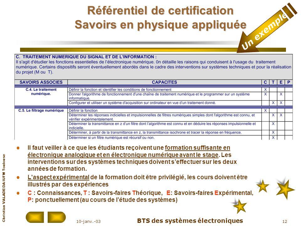 Christian VALADE DA IUFM Toulouse 10-janv.-03 BTS des systèmes électroniques 12 Référentiel de certification Savoirs en physique appliquée Il faut vei