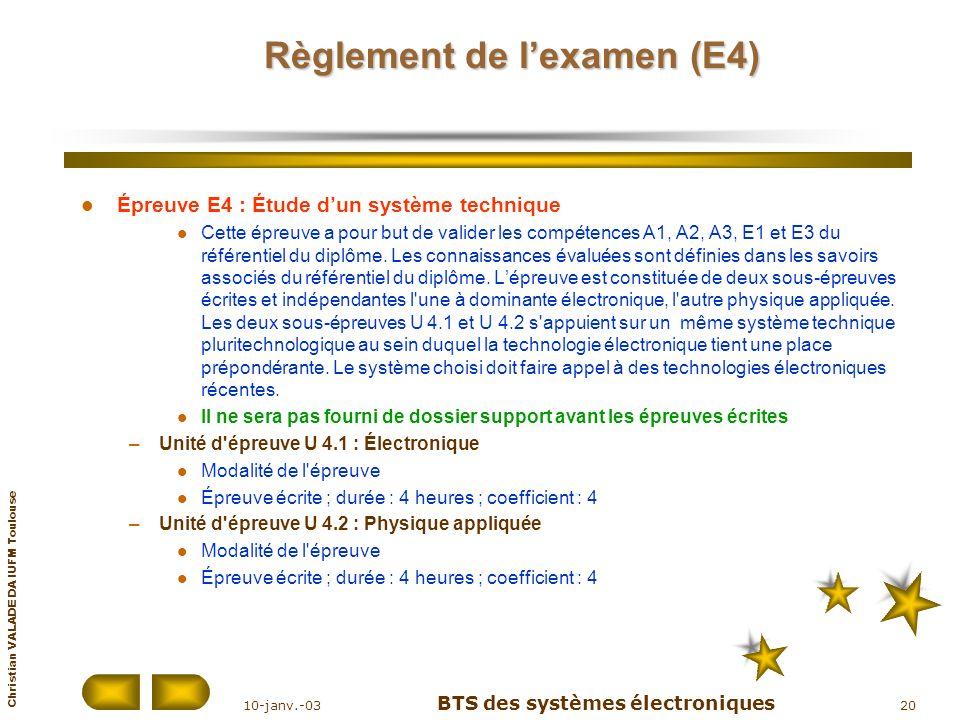 Christian VALADE DA IUFM Toulouse 10-janv.-03 BTS des systèmes électroniques 20 Règlement de lexamen (E4) Épreuve E4 : Étude dun système technique Cet