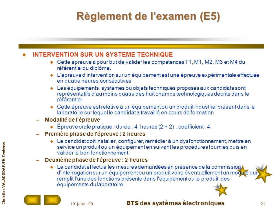 Christian VALADE DA IUFM Toulouse 10-janv.-03 BTS des systèmes électroniques 21 Règlement de lexamen (E5) INTERVENTION SUR UN SYSTEME TECHNIQUE Cette