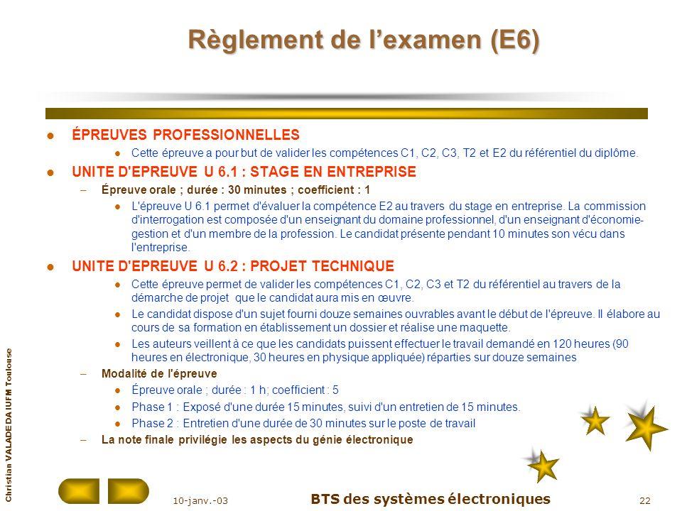 Christian VALADE DA IUFM Toulouse 10-janv.-03 BTS des systèmes électroniques 22 Règlement de lexamen (E6) ÉPREUVES PROFESSIONNELLES Cette épreuve a po