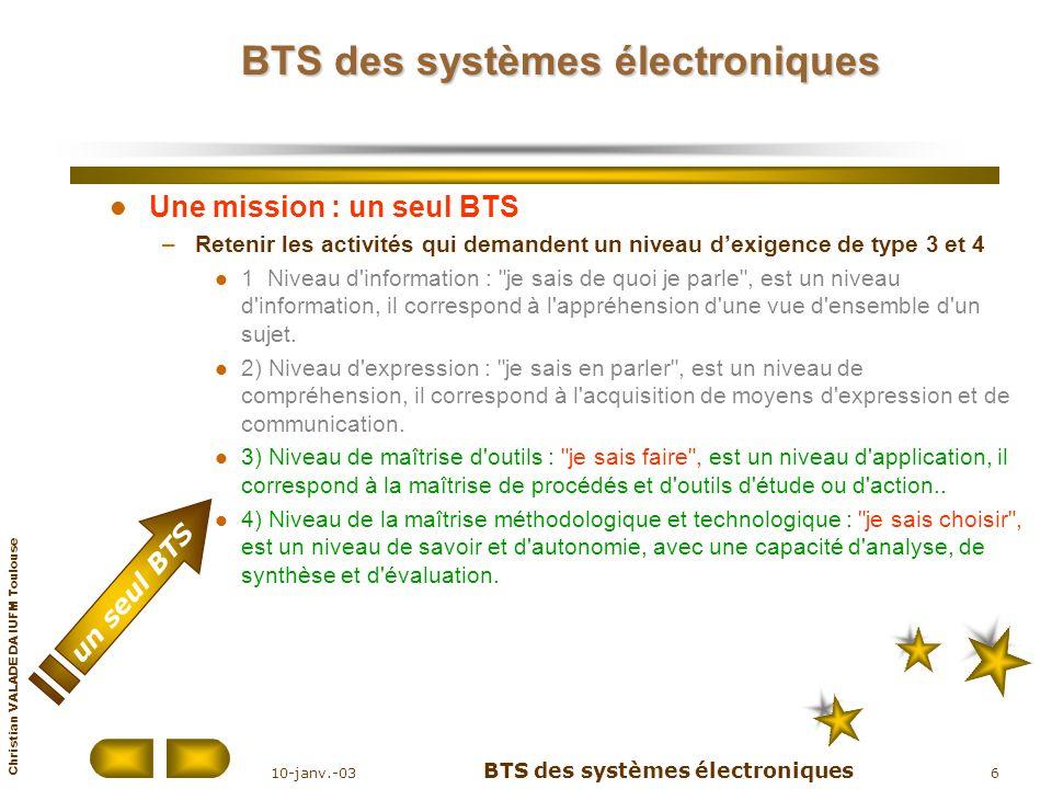Christian VALADE DA IUFM Toulouse 10-janv.-03 BTS des systèmes électroniques 6 BTS des systèmes électroniques Une mission : un seul BTS –Retenir les a